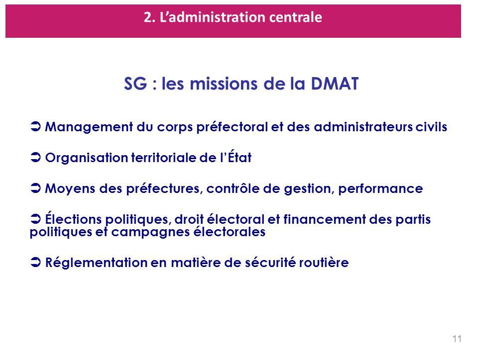 2. L'administration centrale SG : les missions de la DMAT