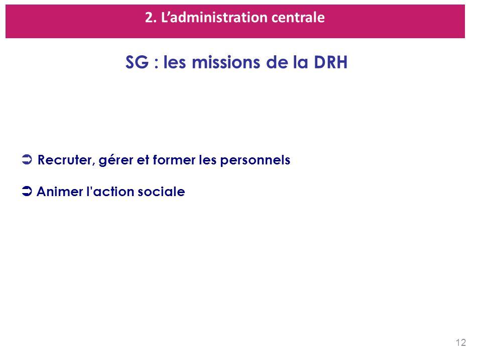 2. L'administration centrale SG : les missions de la DRH