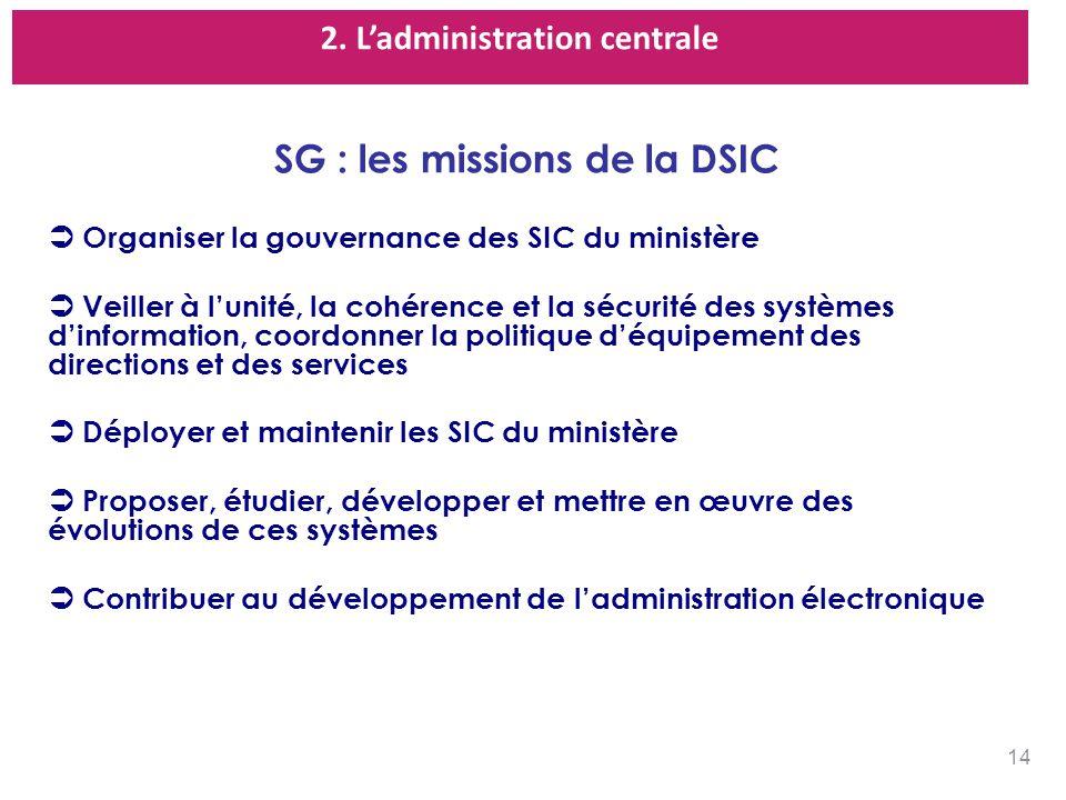 2. L'administration centrale SG : les missions de la DSIC