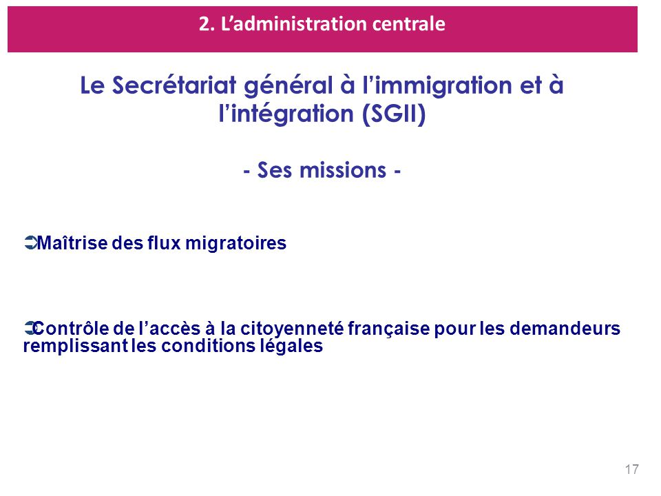 Le Secrétariat général à l'immigration et à l'intégration (SGII)