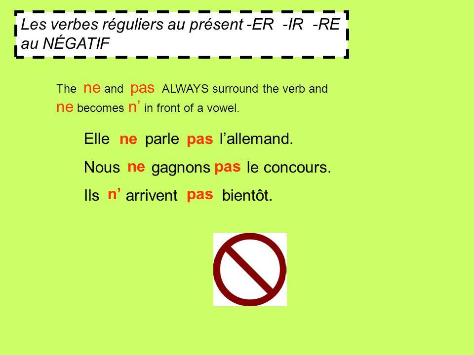 Les verbes réguliers au présent -ER -IR -RE au NÉGATIF