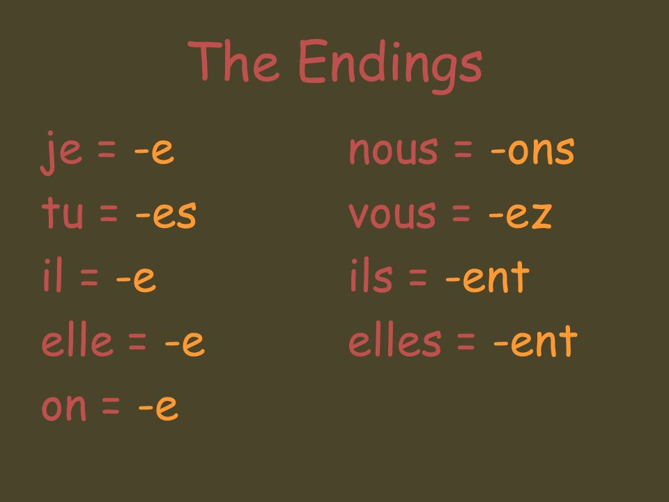 The Endings je = -e tu = -es il = -e elle = -e on = -e