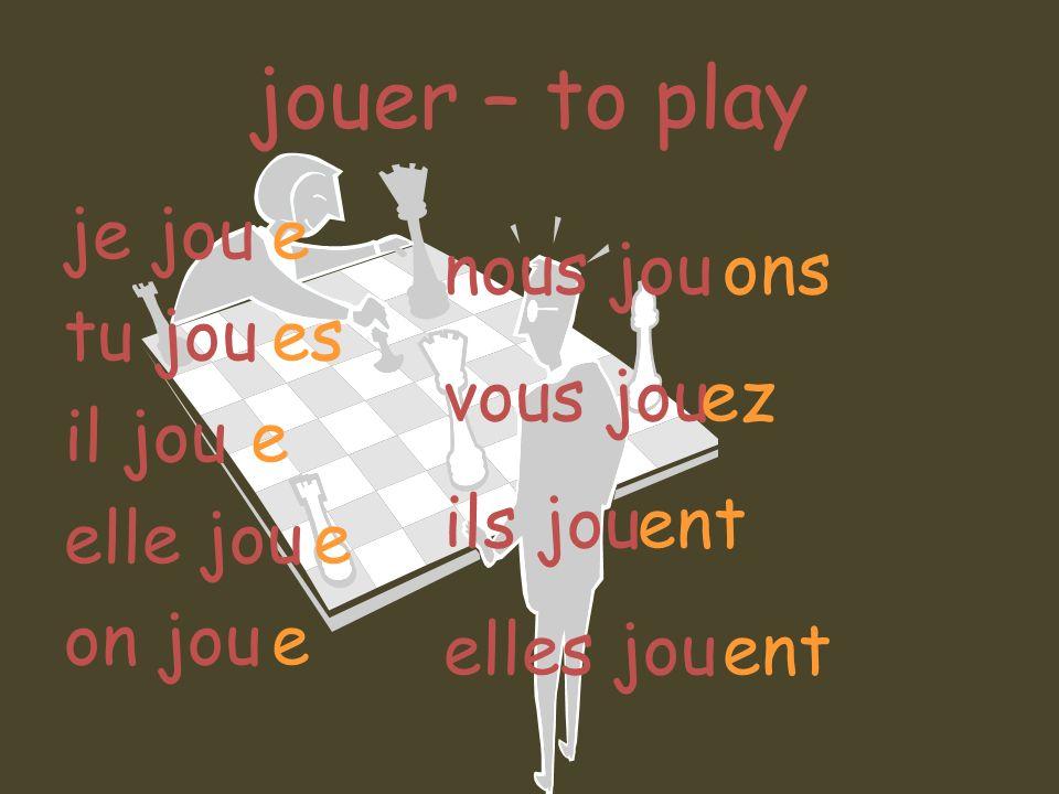 jouer – to play je jou tu jou il jou elle jou on jou e es nous jou