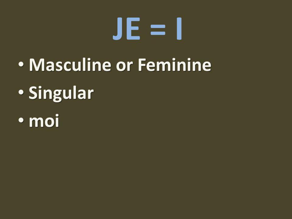 JE = I Masculine or Feminine Singular moi