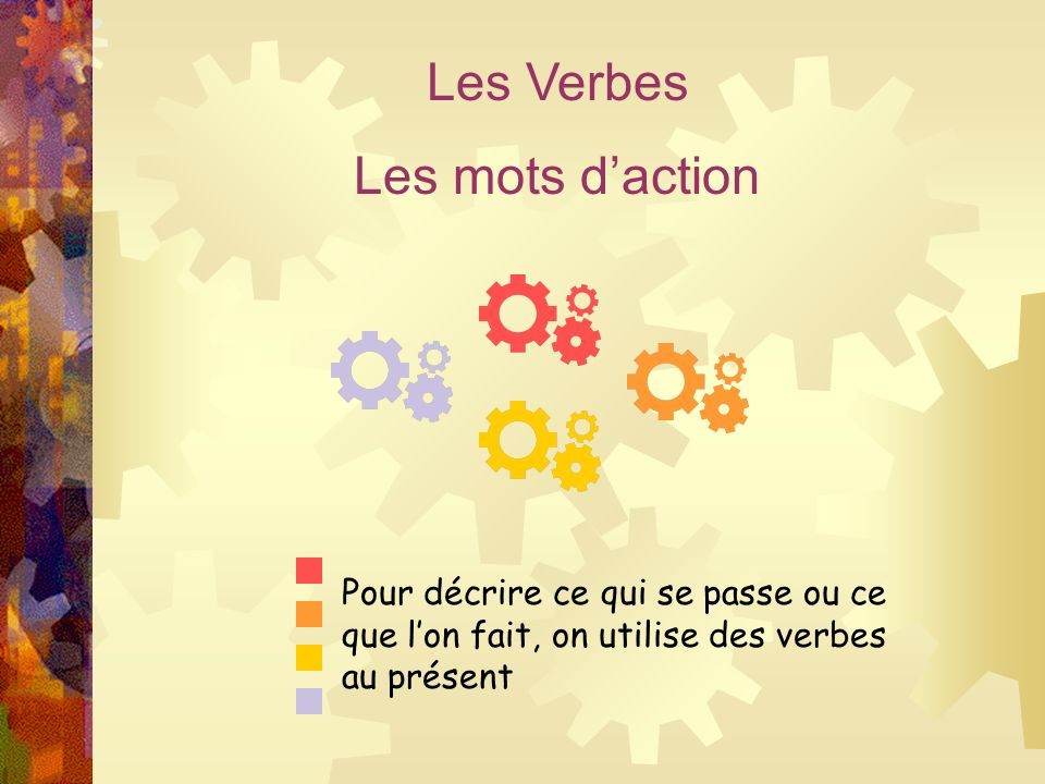 Les Verbes Les mots d'action Pour décrire ce qui se passe ou ce