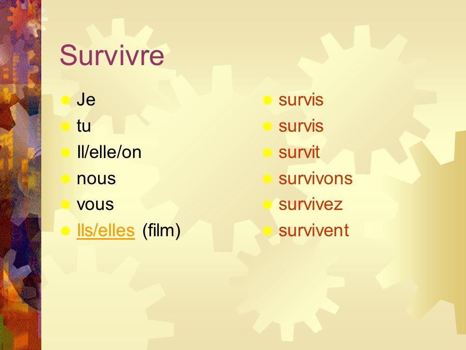 Survivre Je tu Il/elle/on nous vous Ils/elles (film) survis survit