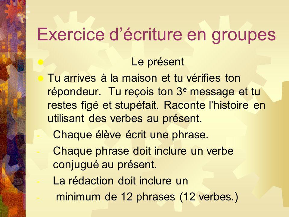 Exercice d'écriture en groupes