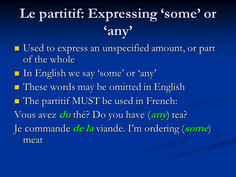 Le partitif: Expressing 'some' or 'any'