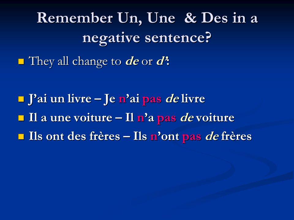 Remember Un, Une & Des in a negative sentence