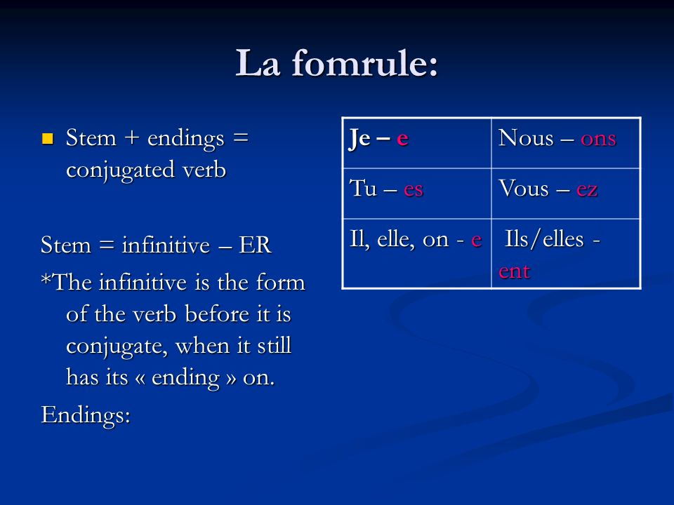 La fomrule: Stem + endings = conjugated verb Stem = infinitive – ER