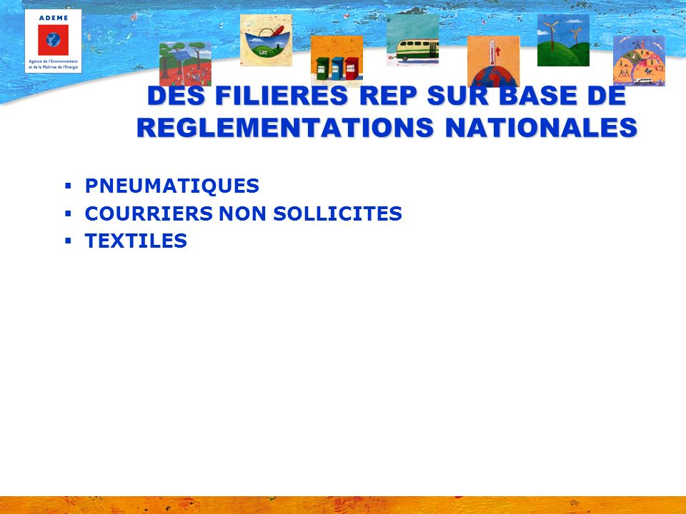 DES FILIERES REP SUR BASE DE REGLEMENTATIONS NATIONALES