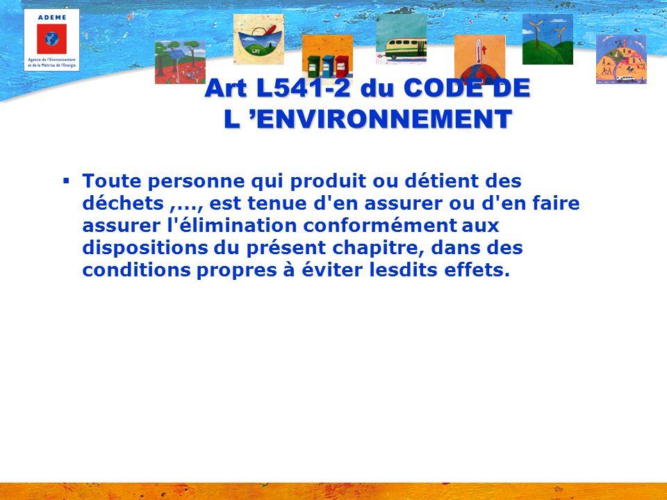 Art L541-2 du CODE DE L 'ENVIRONNEMENT