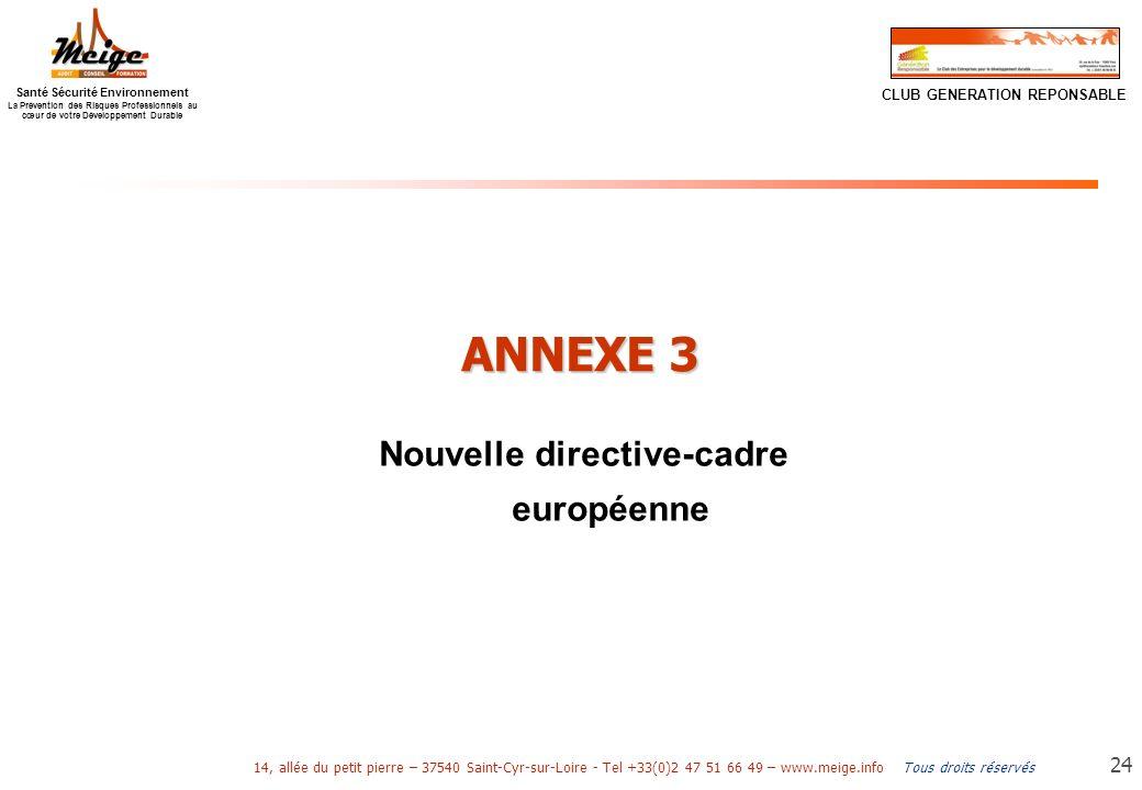 Nouvelle directive-cadre européenne