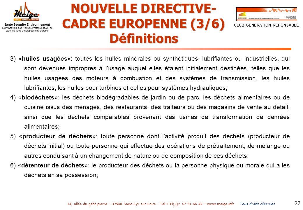 NOUVELLE DIRECTIVE-CADRE EUROPENNE (3/6)