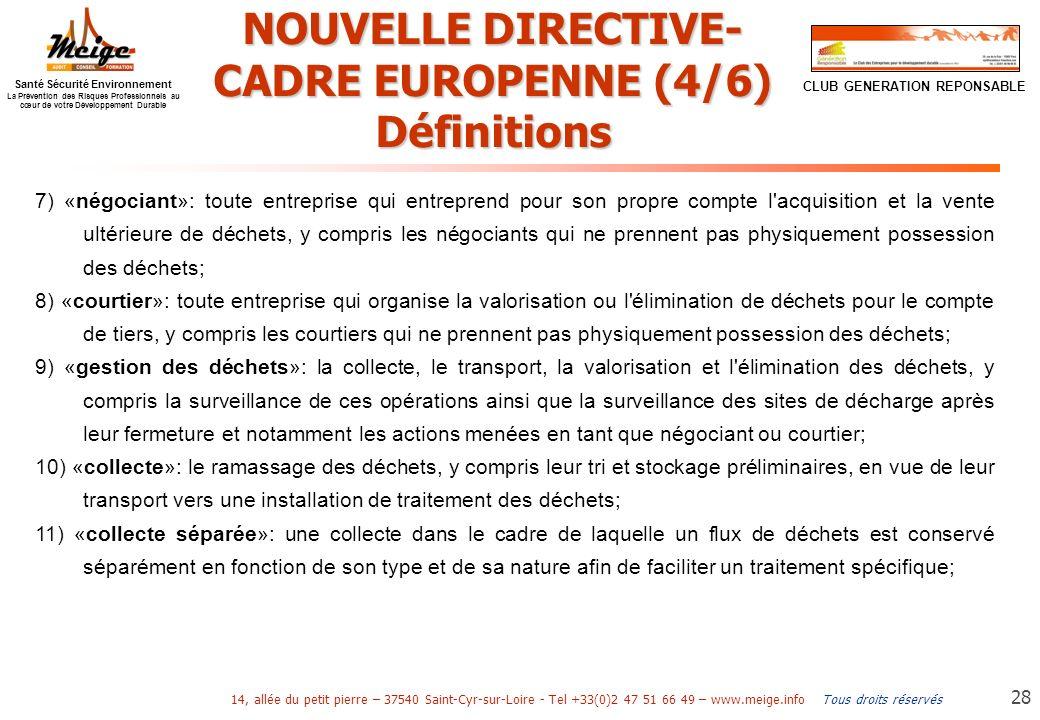 NOUVELLE DIRECTIVE-CADRE EUROPENNE (4/6)