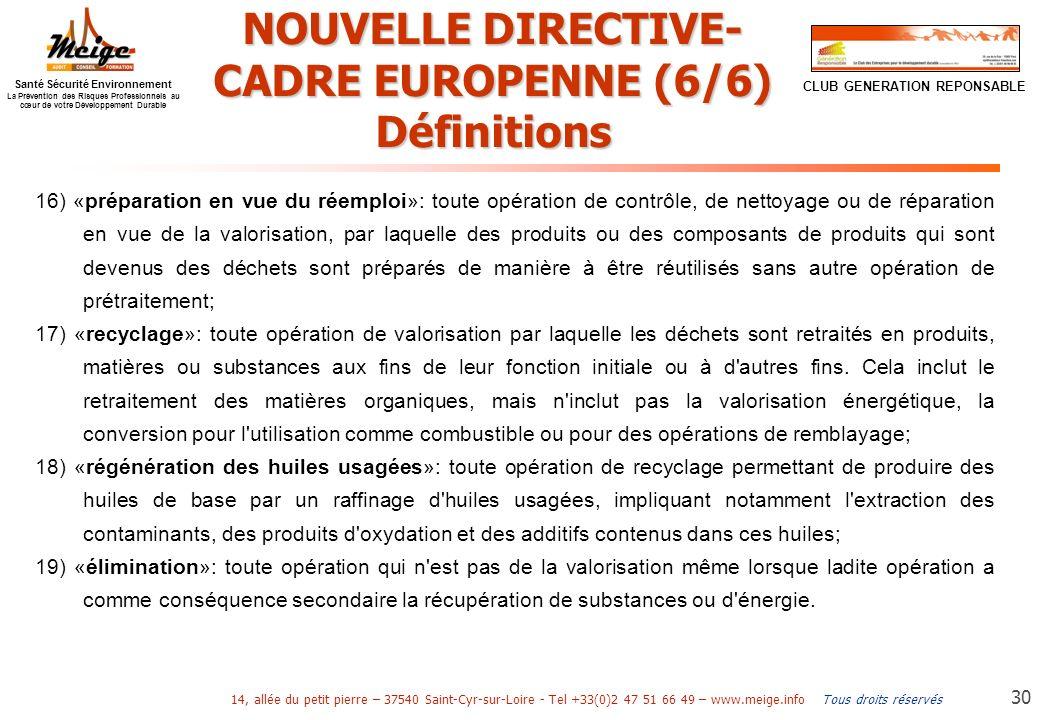 NOUVELLE DIRECTIVE-CADRE EUROPENNE (6/6)