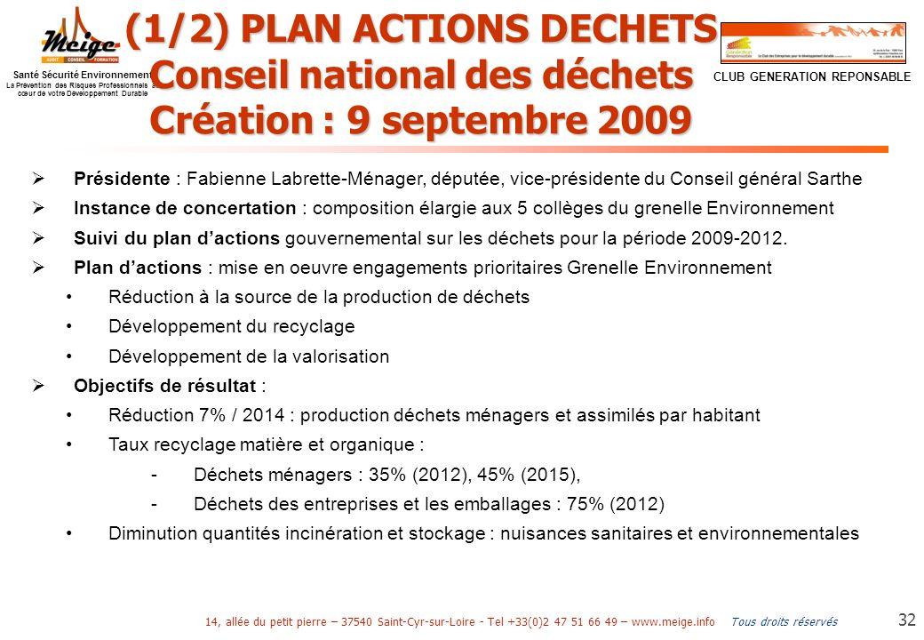 (1/2) PLAN ACTIONS DECHETS Conseil national des déchets