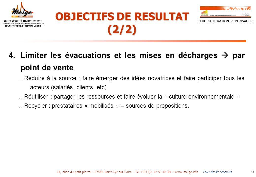 OBJECTIFS DE RESULTAT (2/2)