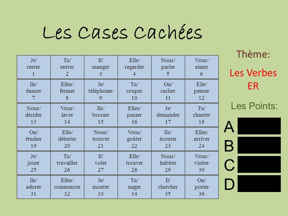 Les Cases Cachées A B C D Thème: Les Verbes ER Les Points: reste 3