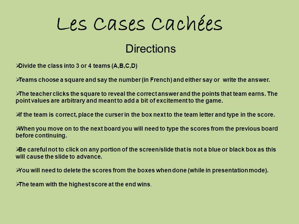 Les Cases Cachées Directions