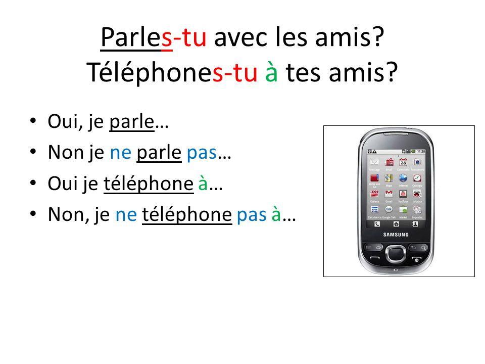 Parles-tu avec les amis Téléphones-tu à tes amis