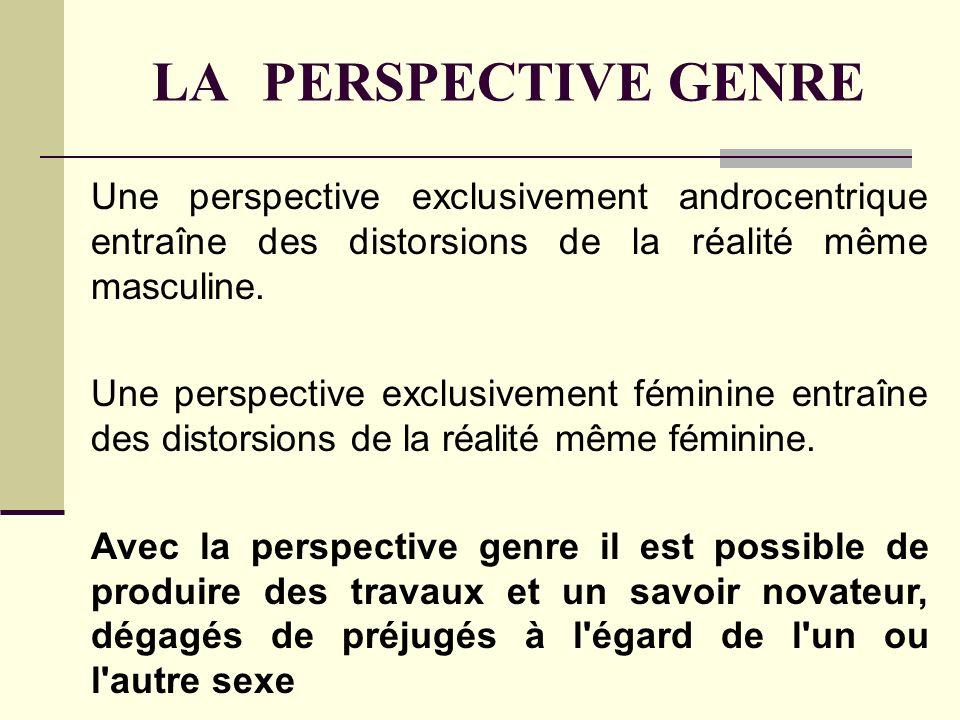 LA PERSPECTIVE GENRE Une perspective exclusivement androcentrique entraîne des distorsions de la réalité même masculine.
