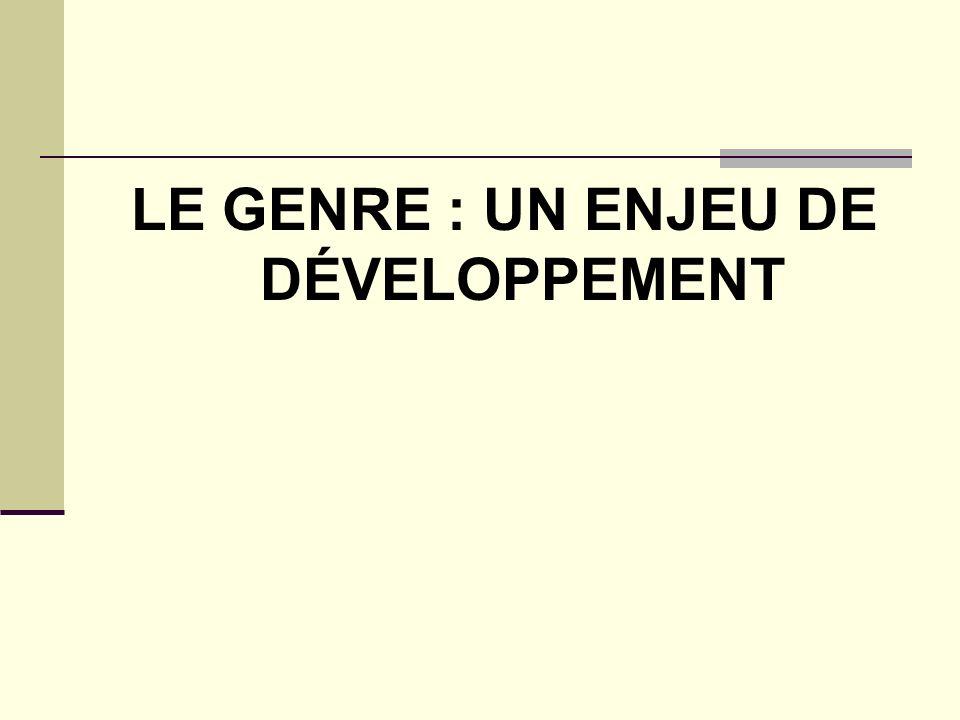 LE GENRE : UN ENJEU DE DÉVELOPPEMENT