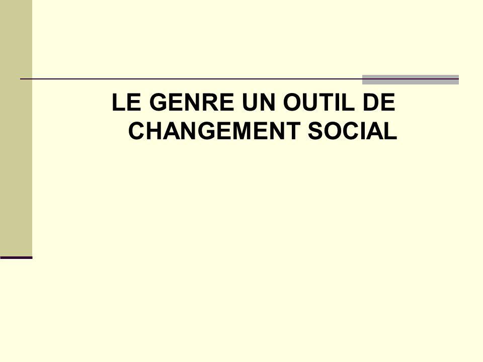 LE GENRE UN OUTIL DE CHANGEMENT SOCIAL