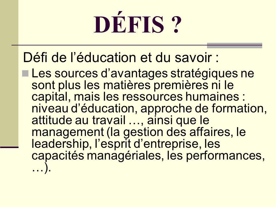 DÉFIS Défi de l'éducation et du savoir :