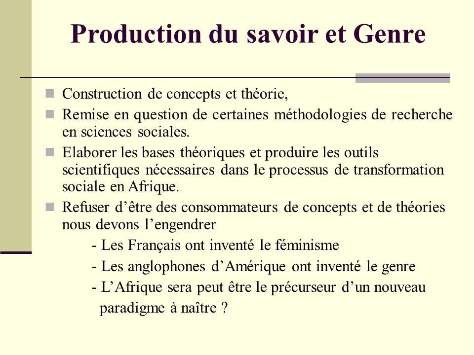 Production du savoir et Genre