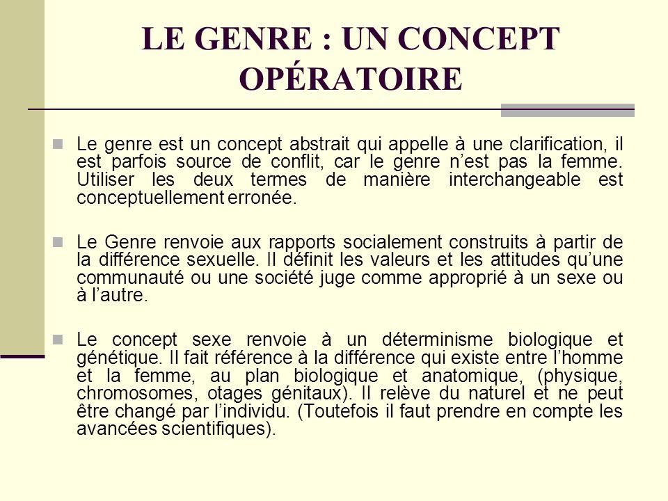 LE GENRE : UN CONCEPT OPÉRATOIRE