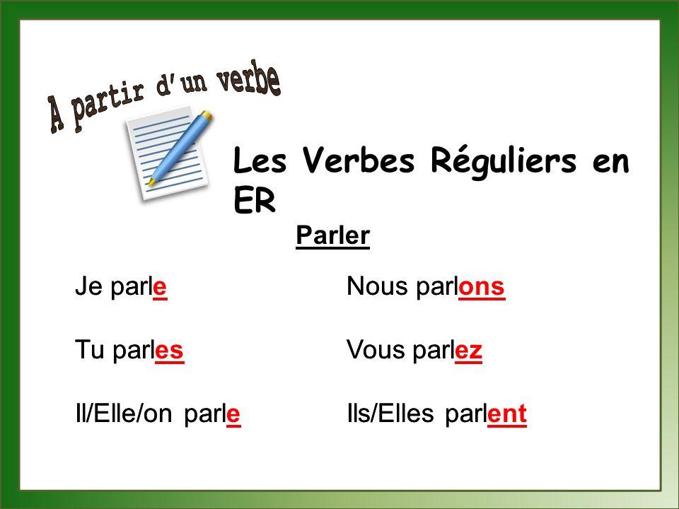A partir d'un verbe Les Verbes Réguliers en ER Parler