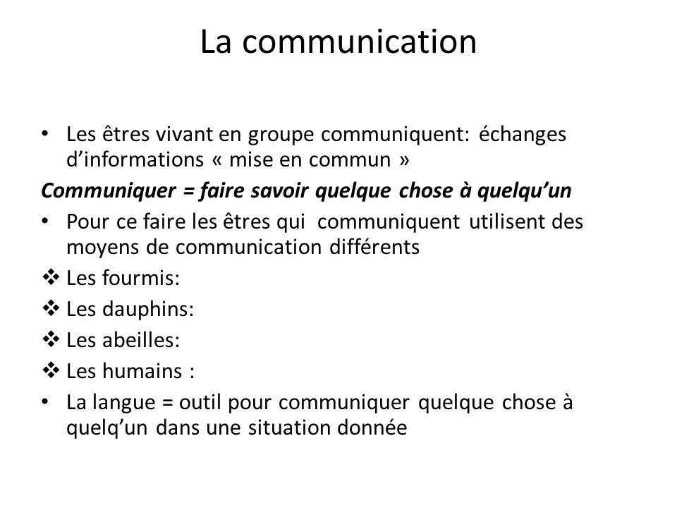 La communication Les êtres vivant en groupe communiquent: échanges d'informations « mise en commun »