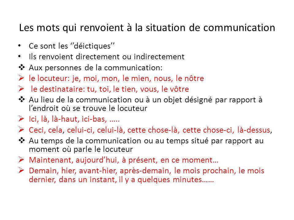 Les mots qui renvoient à la situation de communication