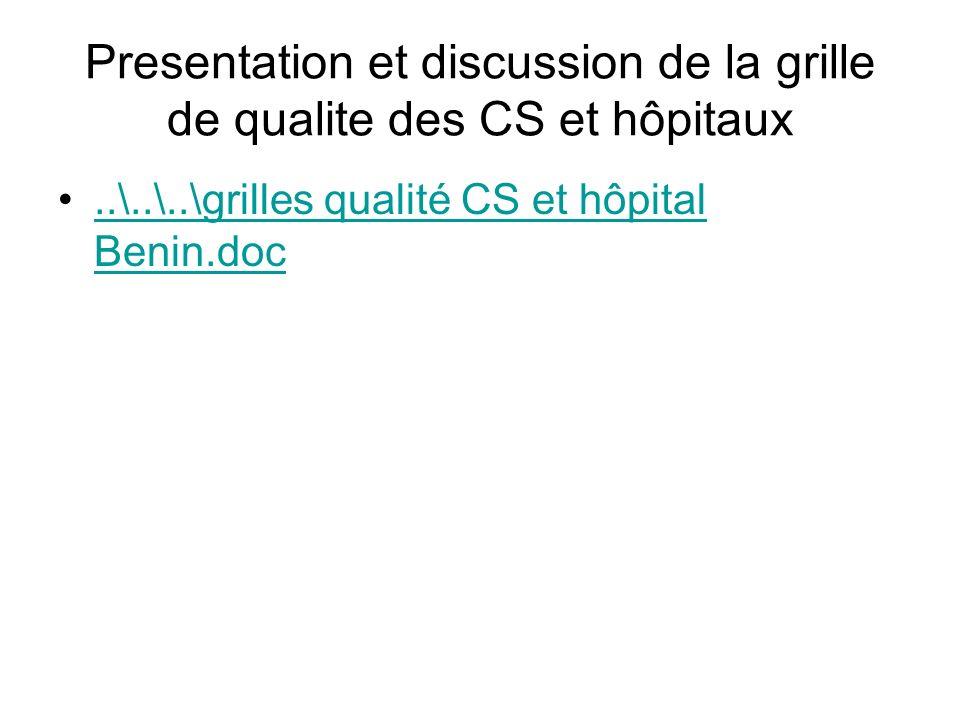 Presentation et discussion de la grille de qualite des CS et hôpitaux