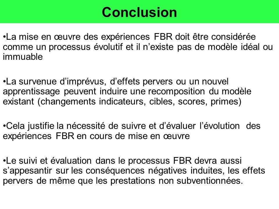 Conclusion La mise en œuvre des expériences FBR doit être considérée comme un processus évolutif et il n'existe pas de modèle idéal ou immuable.