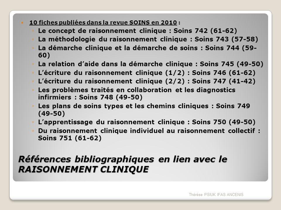 Références bibliographiques en lien avec le RAISONNEMENT CLINIQUE