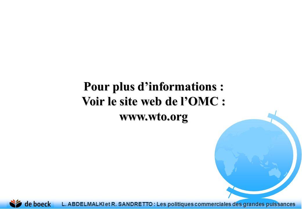 Pour plus d'informations : Voir le site web de l'OMC :