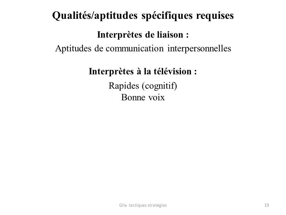 Qualités/aptitudes spécifiques requises