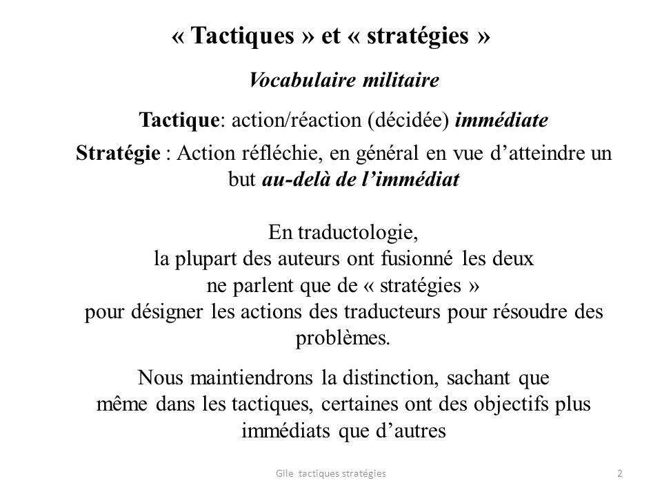 « Tactiques » et « stratégies »