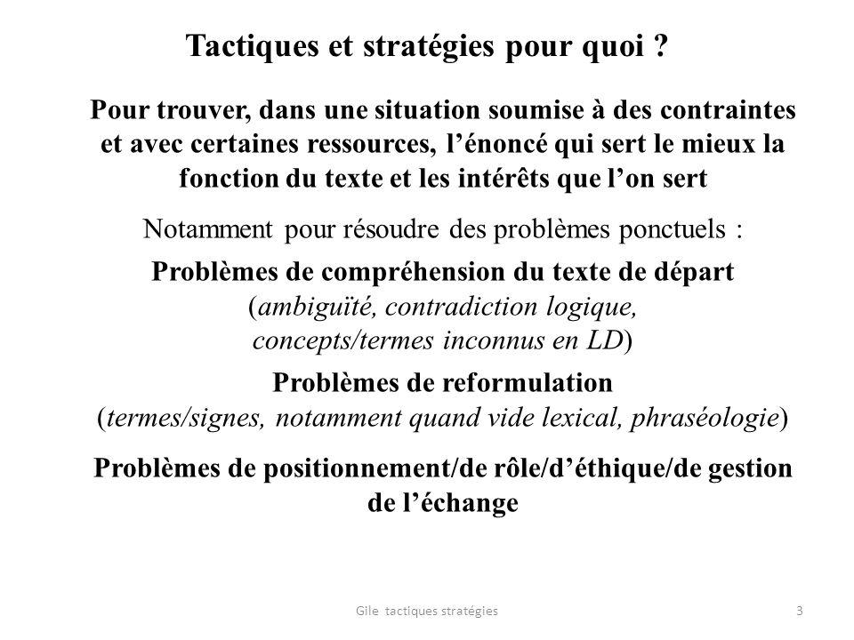 Tactiques et stratégies pour quoi