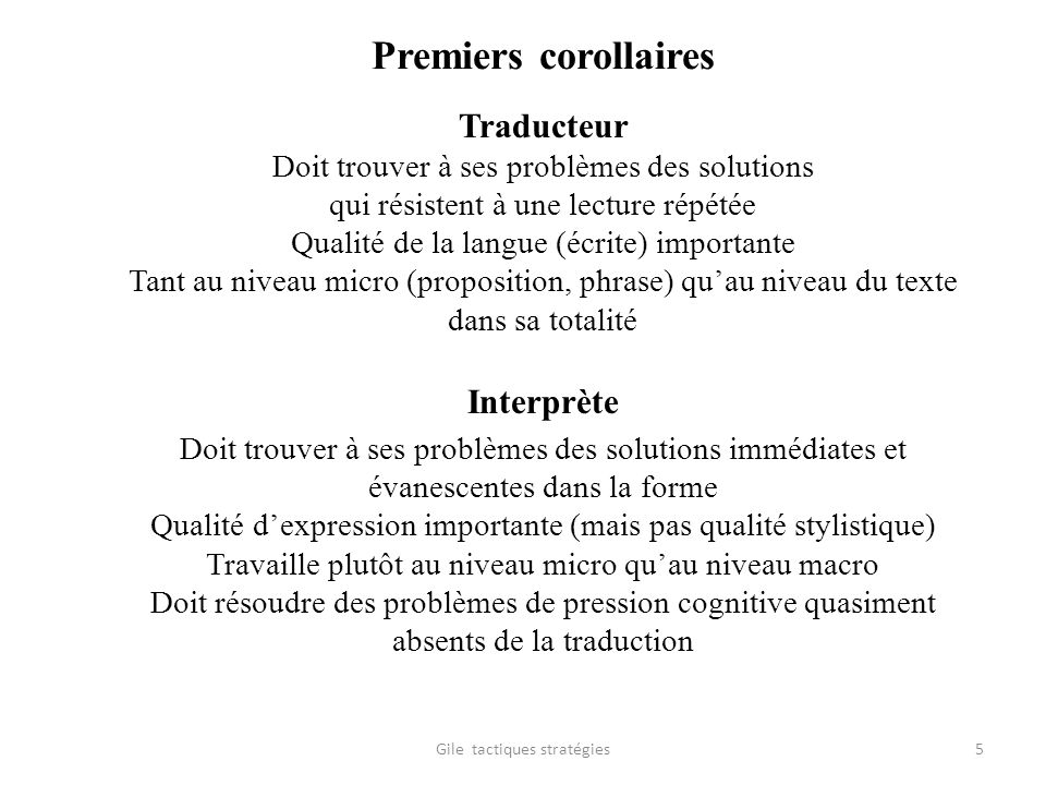 Premiers corollaires Traducteur Interprète