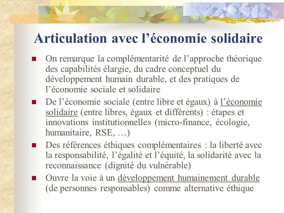 Articulation avec l'économie solidaire