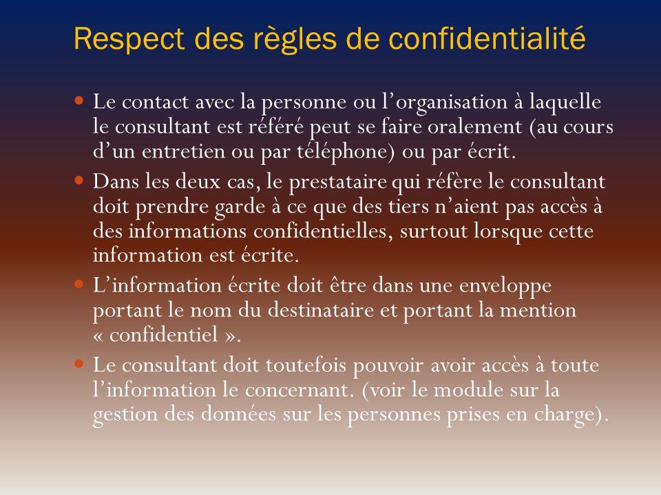 Respect des règles de confidentialité