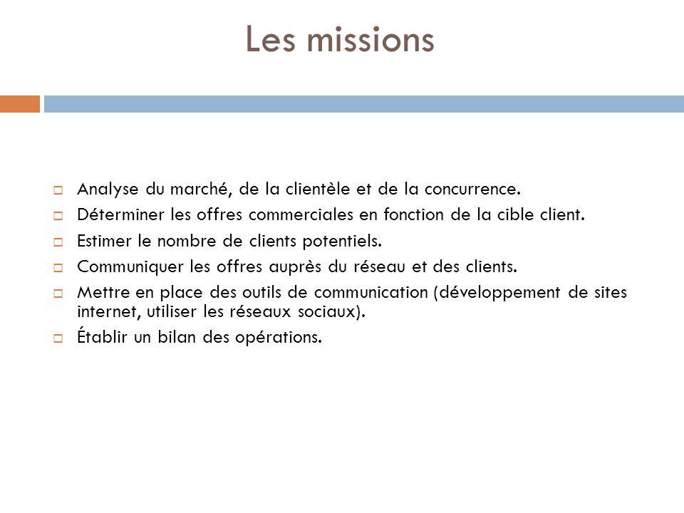 Les missions Analyse du marché, de la clientèle et de la concurrence.