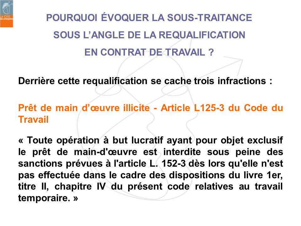 POURQUOI ÉVOQUER LA SOUS-TRAITANCE SOUS L'ANGLE DE LA REQUALIFICATION