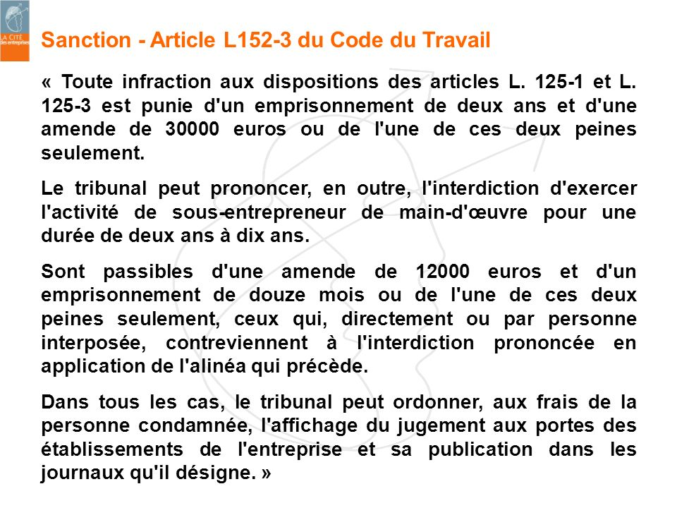 Sanction - Article L152-3 du Code du Travail