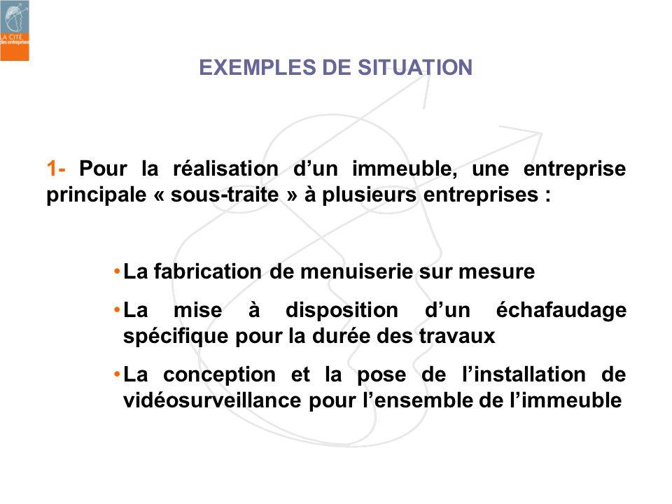 EXEMPLES DE SITUATION1- Pour la réalisation d'un immeuble, une entreprise principale « sous-traite » à plusieurs entreprises :