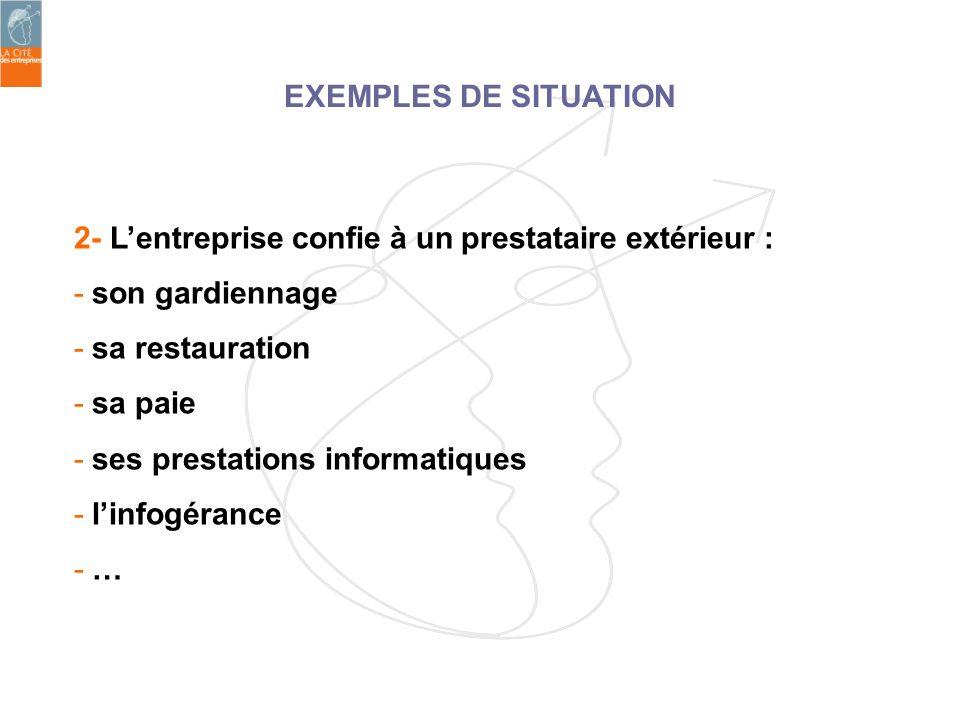 EXEMPLES DE SITUATION 2- L'entreprise confie à un prestataire extérieur : son gardiennage. sa restauration.