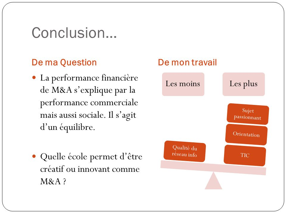 Conclusion… De ma Question. De mon travail.